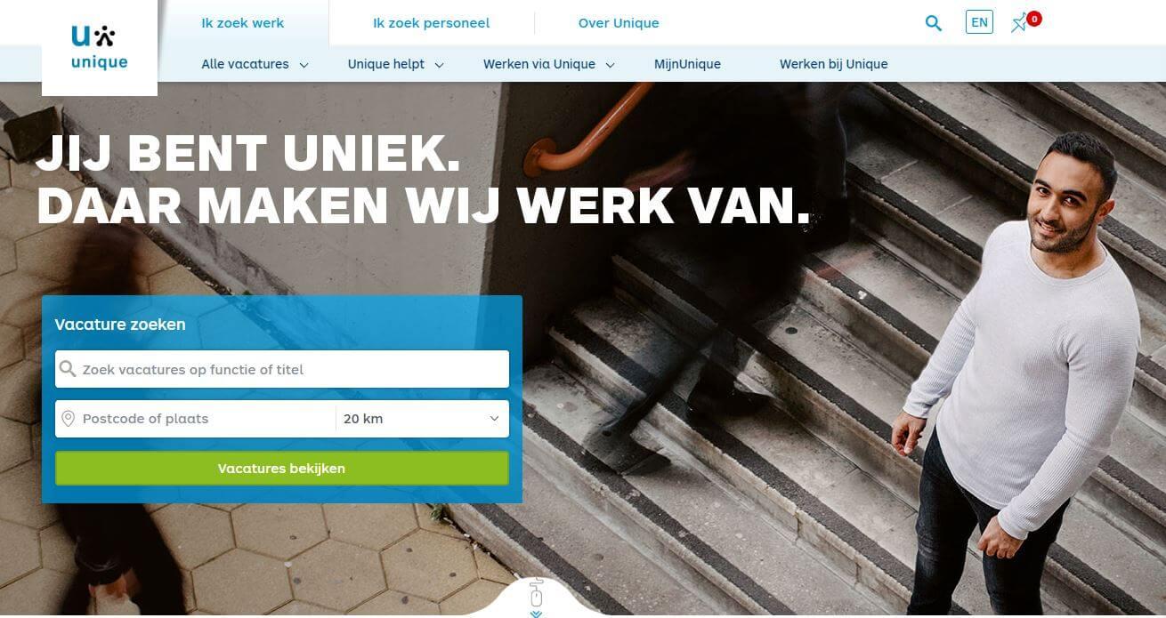 Uitzendbureau Unique heeft een simpele gebruiksvriendelijke website