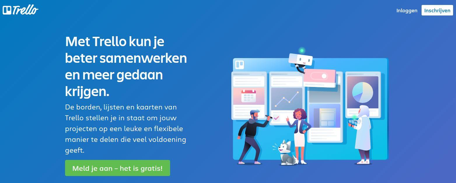 call to action buttons op de website van Trello