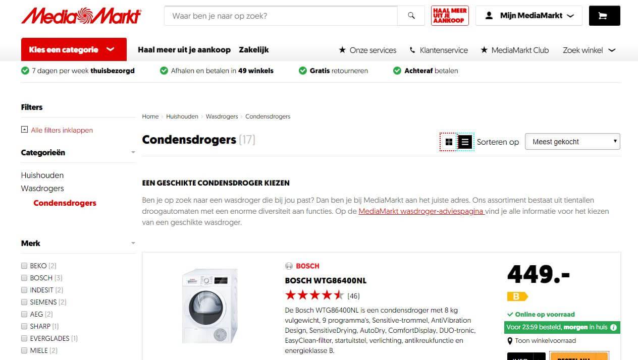 visuele hierarchie op de website van Mediamarkt